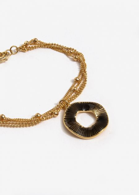 GOLD MULTISTRAND BRACELET WITH GRAY CIRCLE PENDANT