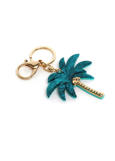 PALM  KEYCHAIN IN GREEN RESIN