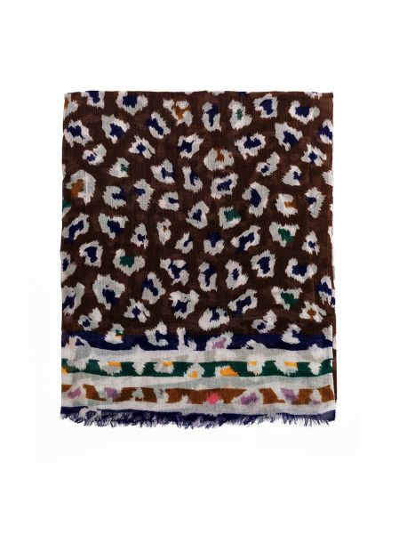 MULTICOLORED SPOTTED SCARF IN WOOL
