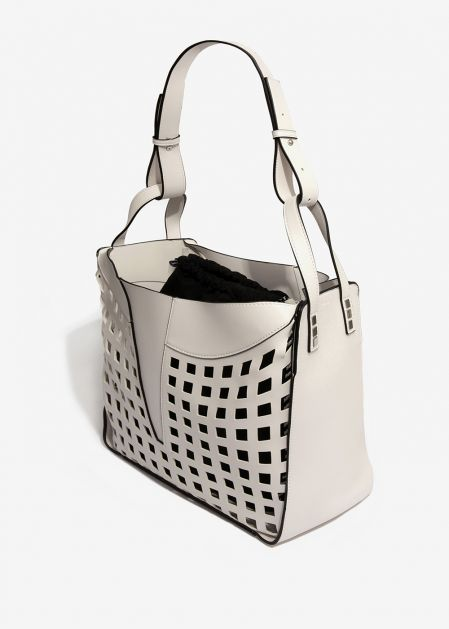 WHITE LASER-CUT SHOULDER BAG WITHBLACK POUCH