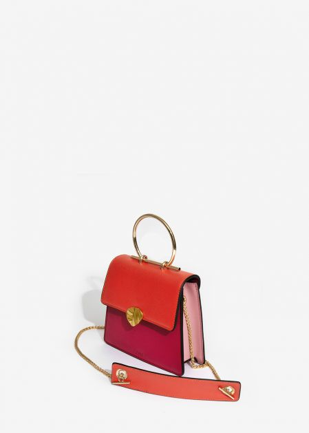 FUCHSIA CORAL AND PINK HANDBAG WITH GOLD PETAL