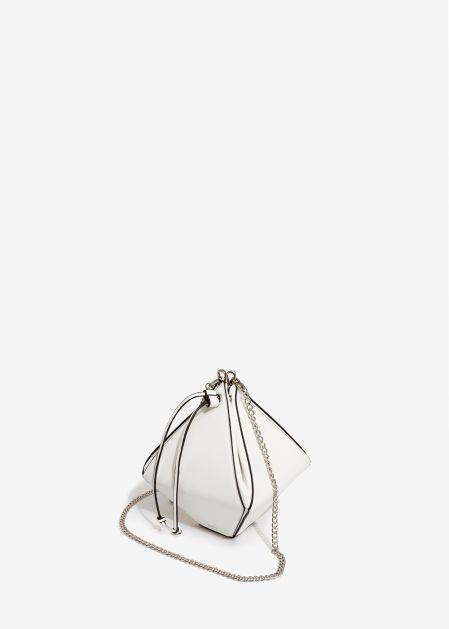 WHITE RHOMBUS-SHAPED HANDBAG