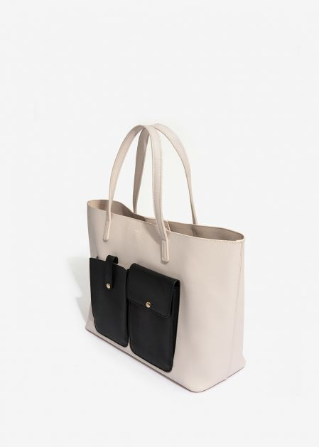 IVORY SHOULDER BAG WITH BLACK POCKETS