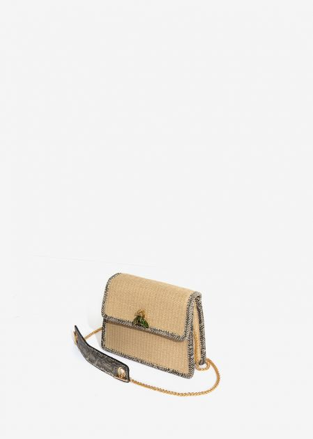 CROSSBODY BAG IN NATURAL RAFFIA AND PYTHON PRINT