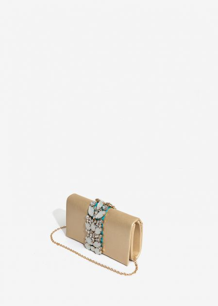 GOLD SATIN EFFECT CLUTCH WITH WHITE STONES