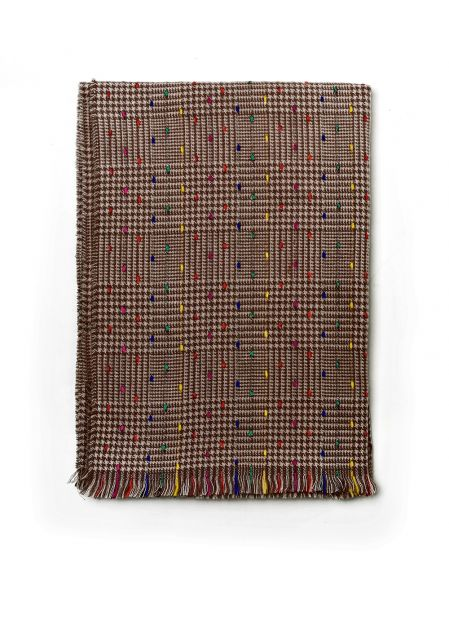 LONG BROWN SCARF WITH MULTICOLORED EMBROIDERY