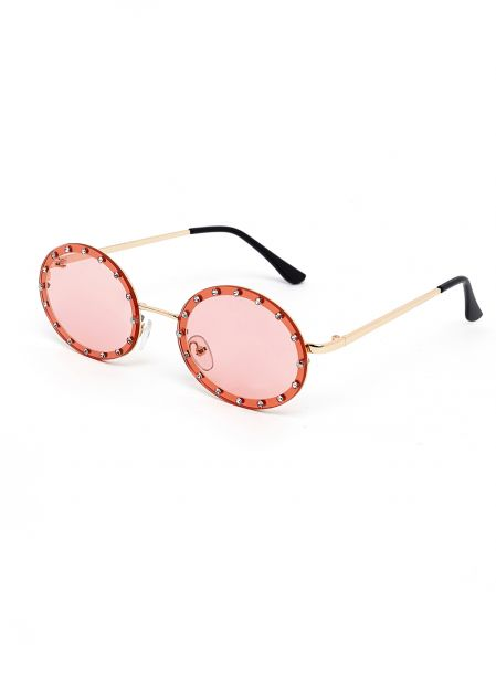 PINK OVAL SUNGLASSES WITH CRYSTALS