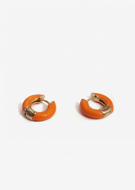 SMALL ORANGE ENAMELED HOOP EARRINGS