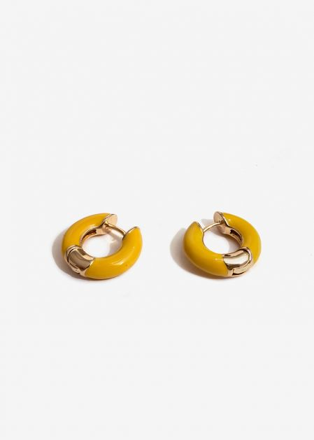 SMALL MUSTARD ENAMELED HOOP EARRINGS