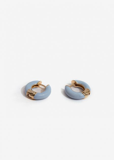 SMALL LIGHT BLUE ENAMELED HOOP EARRINGS