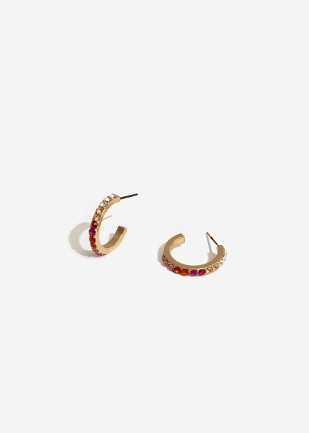 HOOP EARRINGS WITH FUCHSIA CRYSTALS
