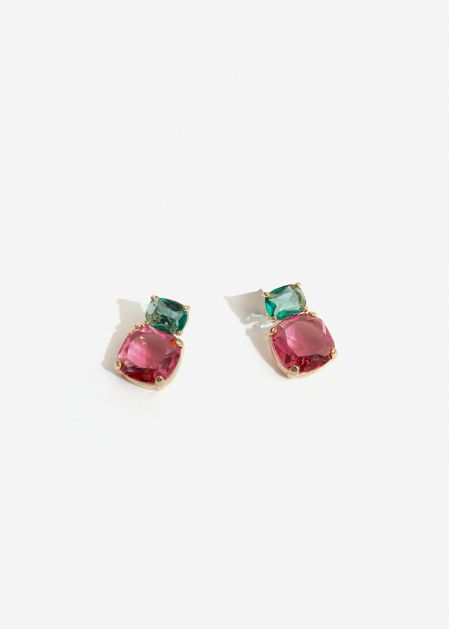 SMALL EARRINGS WITH FUCHSIA GLASS STONE