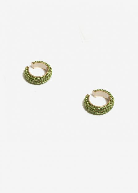 GREEN CRYSTALS EARCUFFS