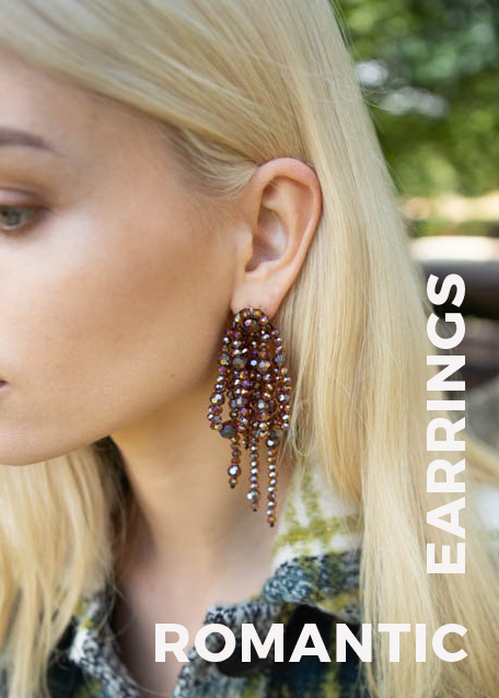 FABY ASYMMETRICAL EARRINGS WITH BRONZE BEADS