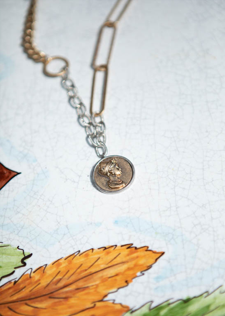 GOLD AND SILVER CHAIN NECKLACE W/ COIN