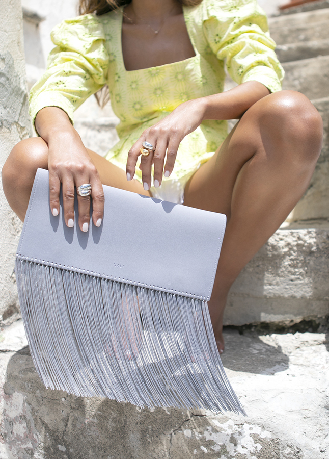BLUE POWDER CLUTCH WITH FRINGES