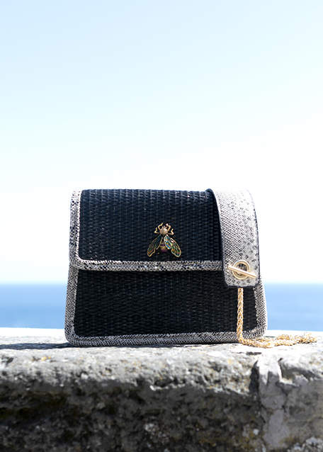 BLACK RAFFIA AND PYTHON PRINT SHOULDER BAG