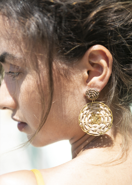 EARRINGS WITH MEDIUM BRONZE AND BRAIDED PENDANT